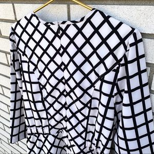 eshakti Dresses - eShakti White Black Windowpane Check Dress